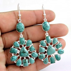 Lovely 925 Sterling Silver Turquoise Gemstone Earring Vintage Jewelry