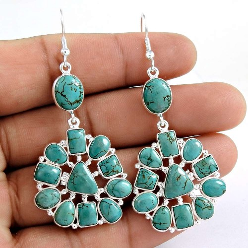 Daily Wear 925 Sterling Silver Turquoise Gemstone Earring Jewelry Grossiste