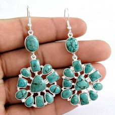 Designer 925 Sterling Silver Turquoise Gemstone Earring Traditional Jewelry