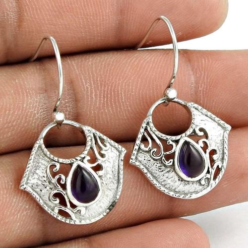 Dainty 925 Sterling Silver Amethyst Gemstone Earring Vintage Jewelry Lieferant