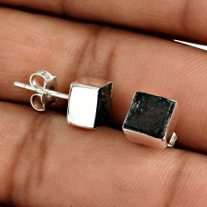Excellent 925 Sterling Silver Mountain Lava Gemstone Stud Earring