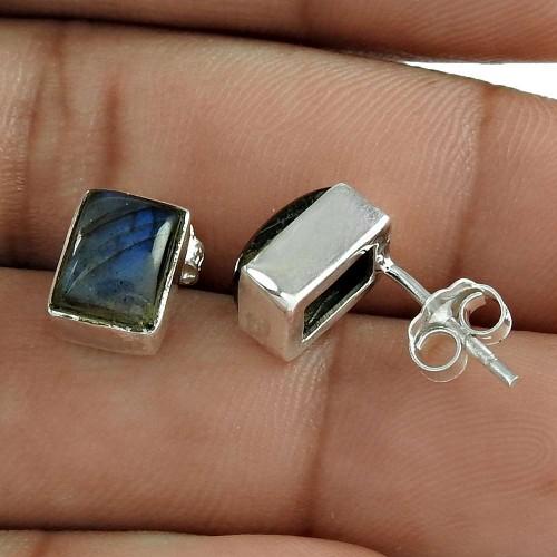 Pleasant 925 Sterling Silver Labradorite Gemstone Stud Earring