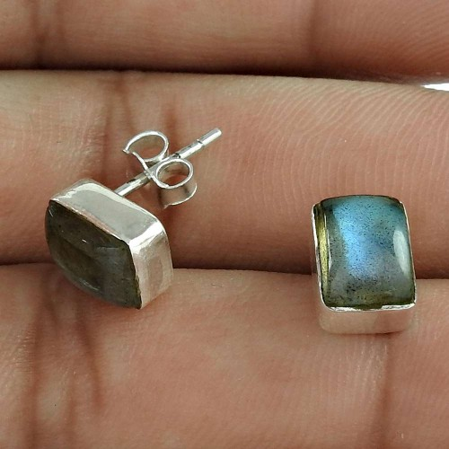 Big Amazing 925 Sterling Silver Labradorite Gemstone Stud Earring