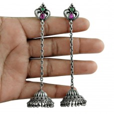 Antique Look 925 Oxidized Sterling Silver Emerald Ruby Gemstone Earring Jewelry