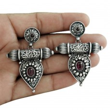 Handy 925 Oxidized Sterling Silver Ruby Gemstone Earring Ethnic Jewelry