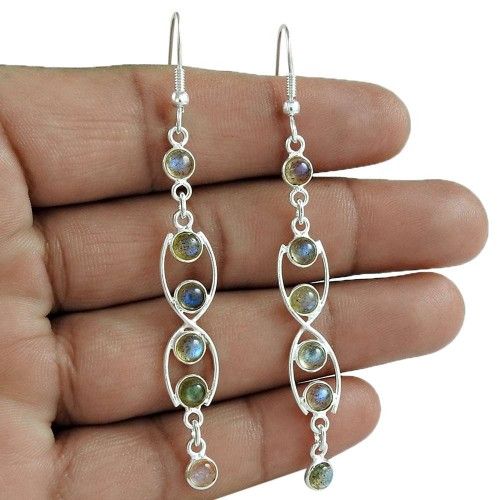 Sightly 925 Sterling Silver Labradorite Gemstone Earring Vintage Jewelry Gift
