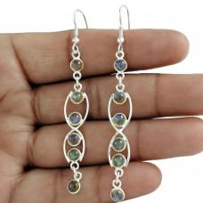 Perfect 925 Sterling Silver Labradorite Gemstone Earring Jewelry Wholesale