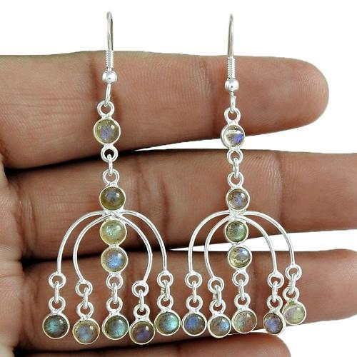 Trendy 925 Sterling Silver Labradorite Gemstone Earring Jewelry Grossiste