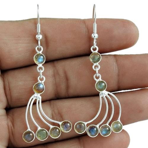 Party Wear 925 Sterling Silver Labradorite Gemstone Earring Ethnic Jewelry