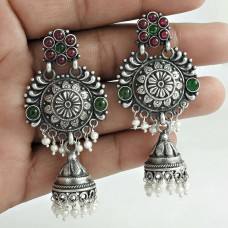 Antique Look Jhumka Garnet Pearl Green Onyx Gemstone 925 Sterling Silver Earring Ethnic Jewelry