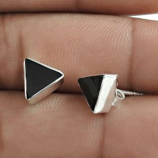 Excellent 925 Sterling Silver Black Onyx Gemstone Stud Earring Vintage Jewelry