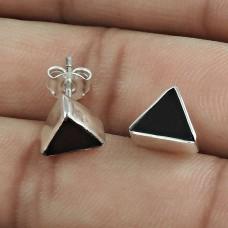 Beautiful 925 Sterling Silver Black Onyx Gemstone Stud Earring Ethnic Jewelry