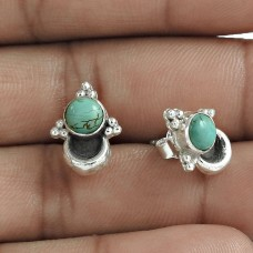 Trendy 925 Sterling Silver Turquoise Gemstone Stud Earring Jewelry