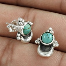 Designer 925 Sterling Silver Turquoise Gemstone Stud Earring Traditional Jewelry