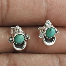 Pretty 925 Sterling Silver Turquoise Gemstone Stud Earring Jewelry