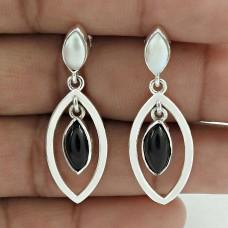 Scenic 925 Sterling Silver Black Onyx Pearl Gemstone Earring Jewelry