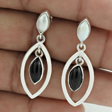 Graceful 925 Sterling Silver Black Onyx Pearl Gemstone Earring Jewelry