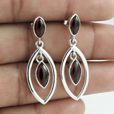 Good Looking 925 Sterling Silver Garnet Gemstone Earring Antique Jewellery