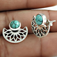 Beautiful 925 Sterling Silver Turquoise Gemstone Stud Earring Jewelry