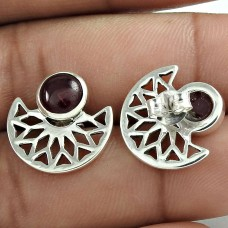 Fashion 925 Sterling Silver Garnet Gemstone Stud Earring Antique Jewelry