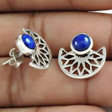 Latest Trend 925 Sterling Silver Lapis Gemstone Stud Earring Vintage Jewelry