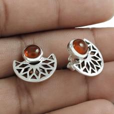 Party Wear 925 Sterling Silver Carnelian Gemstone Stud Earring Ethnic Jewelry