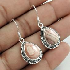 Well-Favoured 925 Sterling Silver Rhodochrosite Gemstone Earring Handmade Jewelry A26