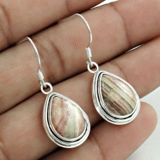 Personable 925 Sterling Silver Rhodochrosite Gemstone Earring Handmade Jewelry A27