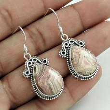 Classic 925 Sterling Silver Rhodochrosite Gemstone Earring Handmade Jewelry A28