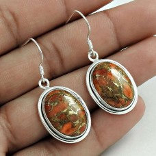Amusable 925 Sterling Silver Brown Copper Turquoise Gemstone Earring Handmade Jewelry A29