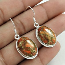 Excellent 925 Sterling Silver Brown Copper Turquoise Gemstone Earring Vintage Jewelry A31