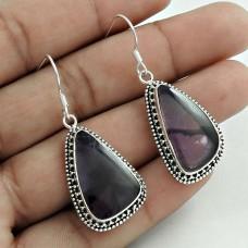 Daily Wear 925 Sterling Silver Amethyst Gemstone Earring Handmade Jewelry A33
