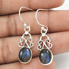 Natural LABRADORITE Earring 925 Solid Sterling Silver HANDMADE Jewelry QQ56