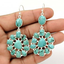 Sightly 925 Sterling Silver Turquoise Gemstone Earring Handmade Jewelry K6