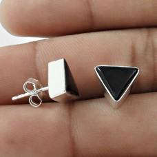 Pleasing 925 Sterling Silver Black Onyx Gemstone Earring Antique Jewelry A37