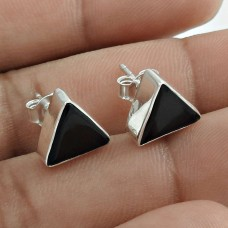 Beautiful 925 Sterling Silver Black Onyx Gemstone Earring Traditional Jewelry A38