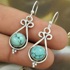 Natural TURQUOISE HANDMADE Jewelry 925 Solid Sterling Silver Earring BB56