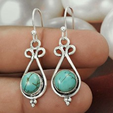 Natural TURQUOISE Earring 925 Solid Sterling Silver HANDMADE Jewelry CC56