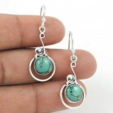 Natural TURQUOISE HANDMADE Jewelry 925 Solid Sterling Silver Earring QQ55