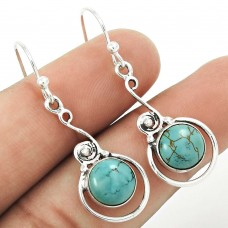 HANDMADE 925 Solid Sterling Silver Jewelry Natural TURQUOISE Earring RR55