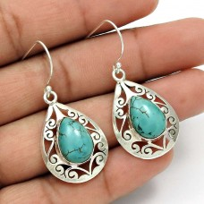 Turquoise Gemstone Earring 925 Sterling Silver Tribal Jewelry PL2