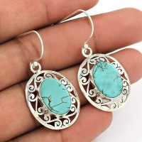 Turquoise Gemstone Earring 925 Sterling Silver Ethnic Jewelry RF3