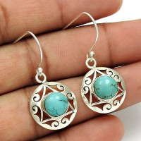 Turquoise Gemstone Earring 925 Sterling Silver Traditional Jewelry YH3