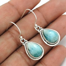 Larimar Gemstone Earring 925 Sterling Silver Tribal Jewelry PH4