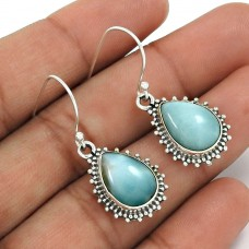 Larimar Gemstone Earring 925 Sterling Silver Tribal Jewelry WS5