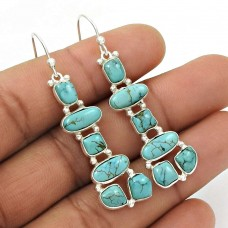 HANDMADE 925 Silver Jewelry Natural TURQUOISE Gemstone Inukshuk Earring BR42