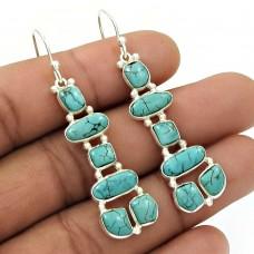 Natural TURQUOISE Gemstone Inukshuk Earring 925 Silver HANDMADE Jewelry NH43