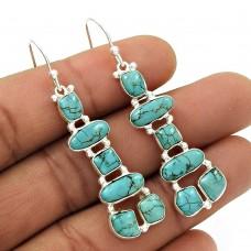 Natural TURQUOISE Gemstone HANDMADE Jewelry 925 Silver Inukshuk Earring BR46
