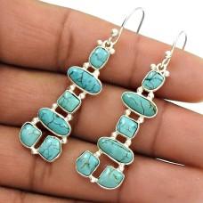 Natural TURQUOISE Gemstone HANDMADE Jewelry 925 Silver Inukshuk Earring VT49