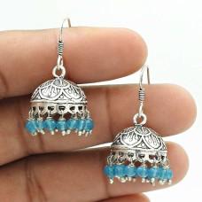 Natural TOPAZ Gemstone HANDMADE Jewelry 925 Sterling Silver Jhumki Earring AC6